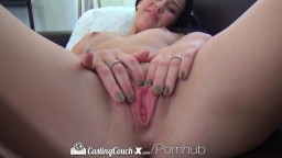 CastingCouch-X - Brunette Megan Rain is Eager to Fuck on the Casting Couch